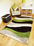 NEW SMALL - XX LARGE GREEN BROWN BEIGE CREAM SHAGGY AREA RUG THICK RUNNERS SOFT SHAGGY RUG (120 X 170 CMS)