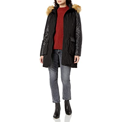 7 For All Mankind Women's Down Parka with Patch Pockets and Detachable Faux Fur Trim: Clothing