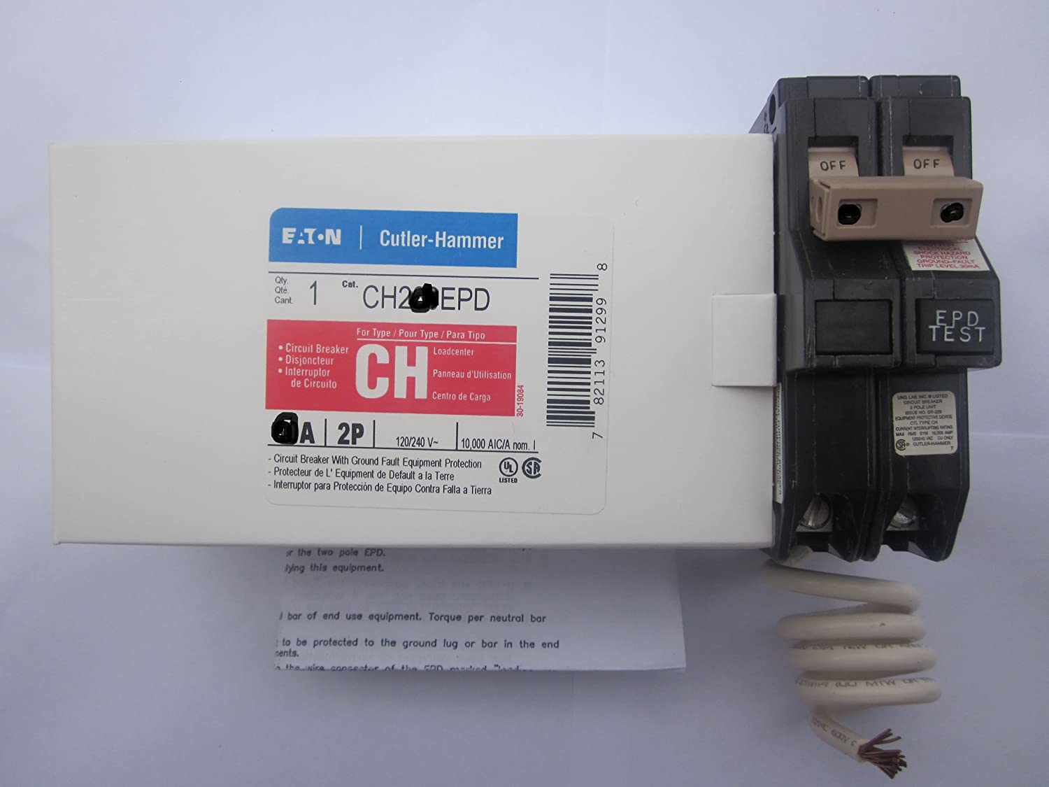 Cutler Hammer Ch220epd Or Ch220gfep Ch Series With Ground Fault 20a Afci Circuit Breaker Chfcaf120neweggcom Equipment Protectiongfep 2 Pole 20 Amp
