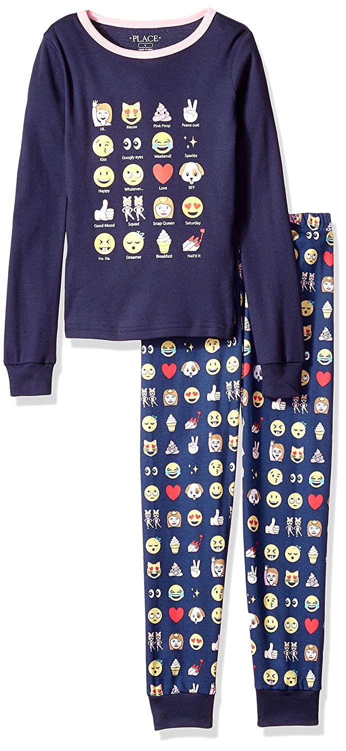 The Childrens Place Big Girls Emoji 2 Piece Sleepwear