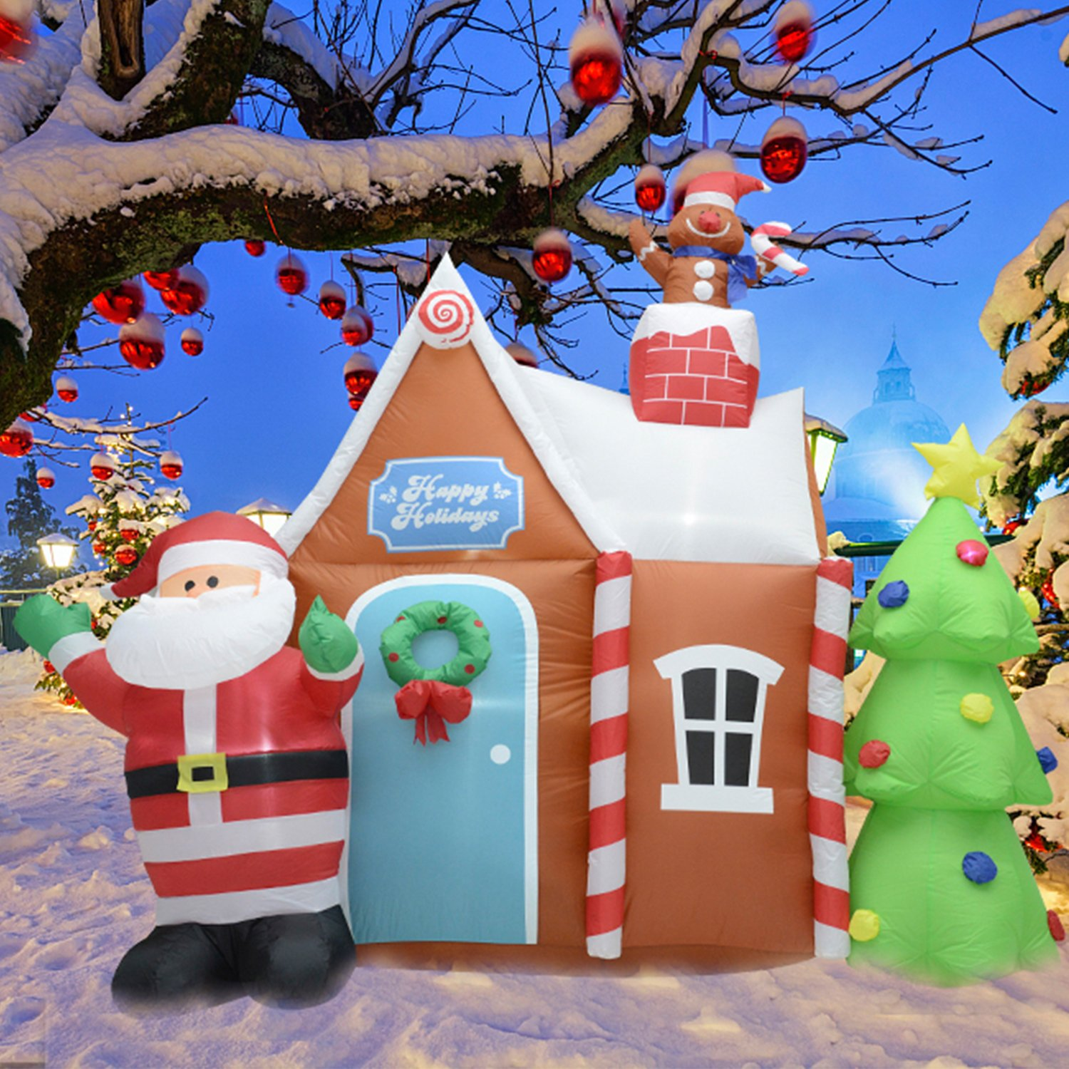 Fashionlite 6 Feet Inflatable Santa Claus with Christmas Tree and House Lighted Blow-Up Yard Party Decoration