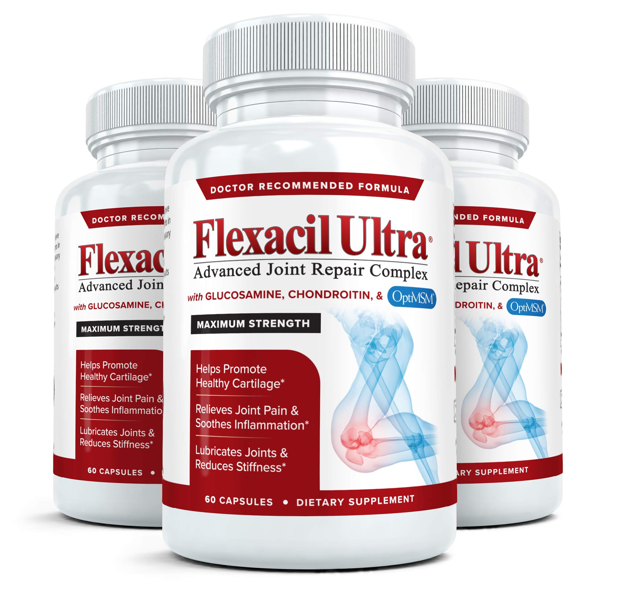Flexacil Ultra - Maximum Strength Joint Pain Relief Supplement   Glucosamine, Chondroitin & MSM   Powerful Anti-Inflammatory, Promotes Healthy Hand, Back and Knee Function, 3 Bottles, 60 Capsules Each