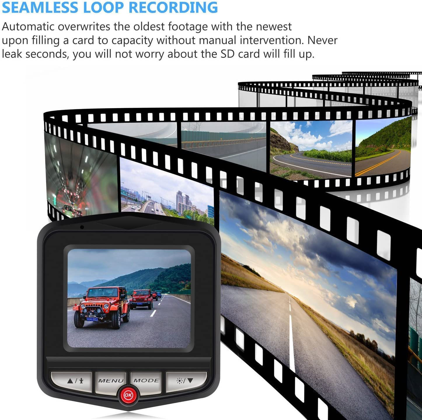 Loop Recording coolsun 2.4 LCD FHD 1080p 160 Degree Wide Angle Dashboard Car Camera Recorder with Night Vision,WDR Car Dash Cam