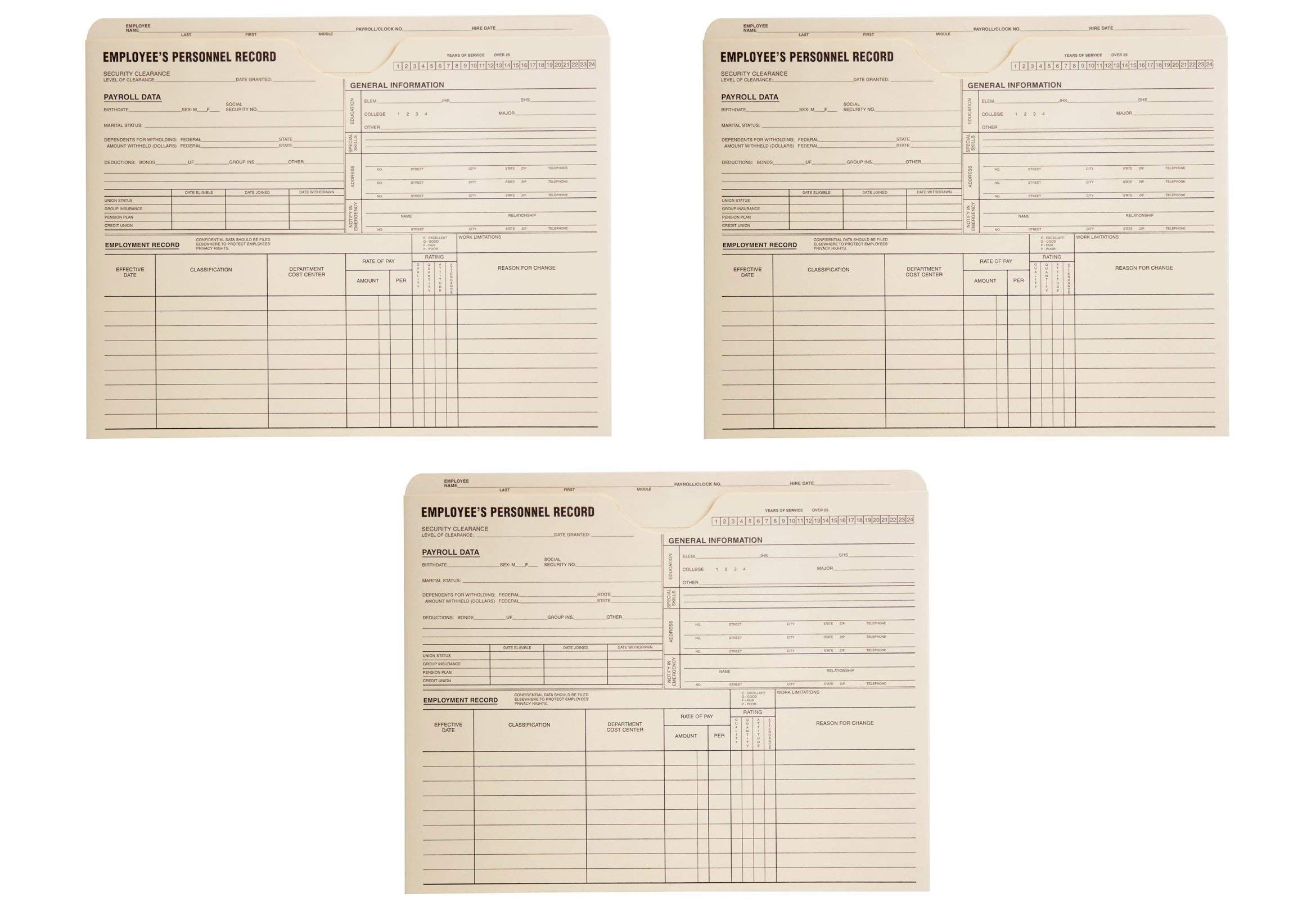 Quality Park, Employee Record Jacket, Manila, 11.75x9.5, 11pt, (69999) (3 X Pack of 100) by Quality Park