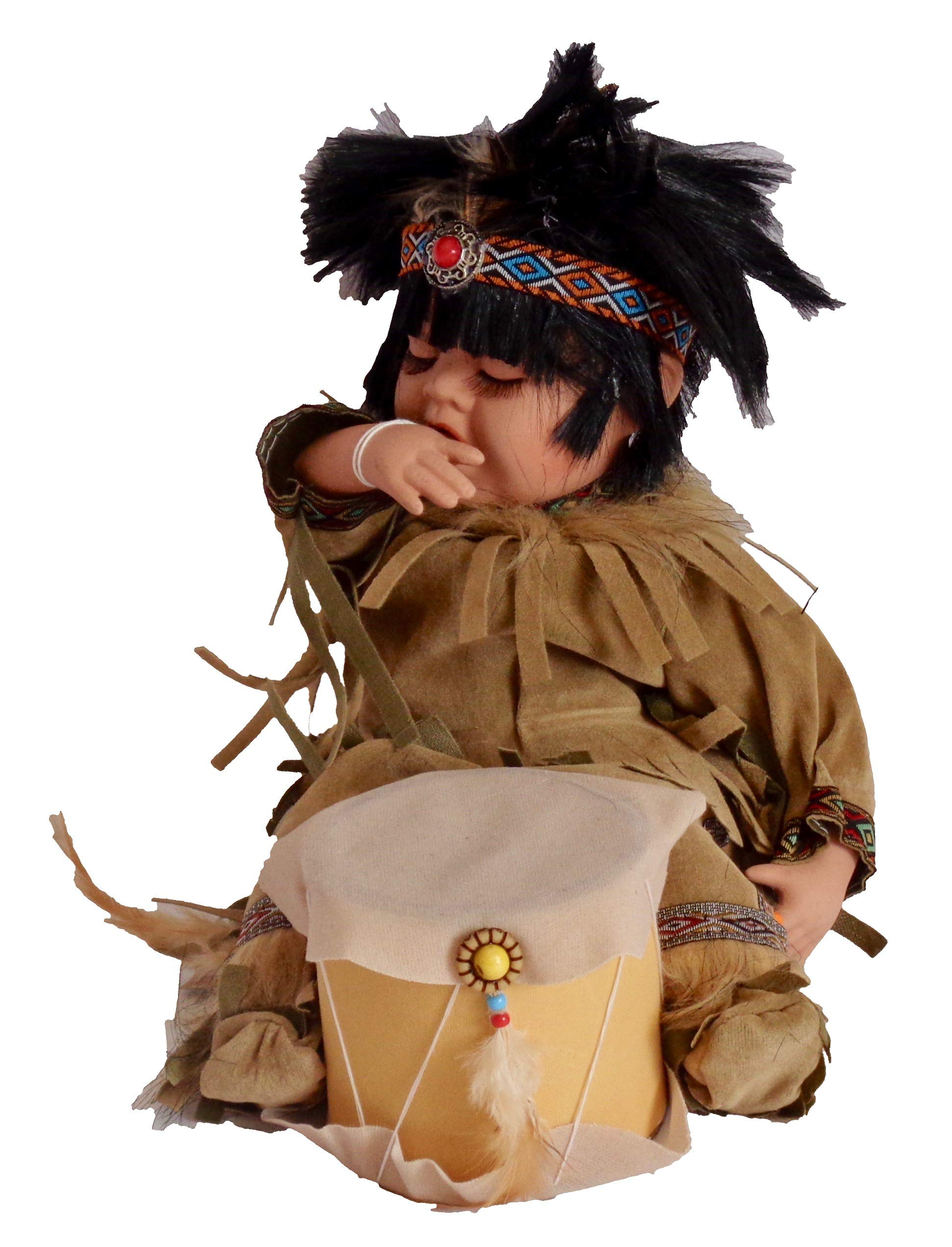 14'' Limited Edition Collectable Native American/Indian Drummer Boy Porcelain Doll (Light Brown)
