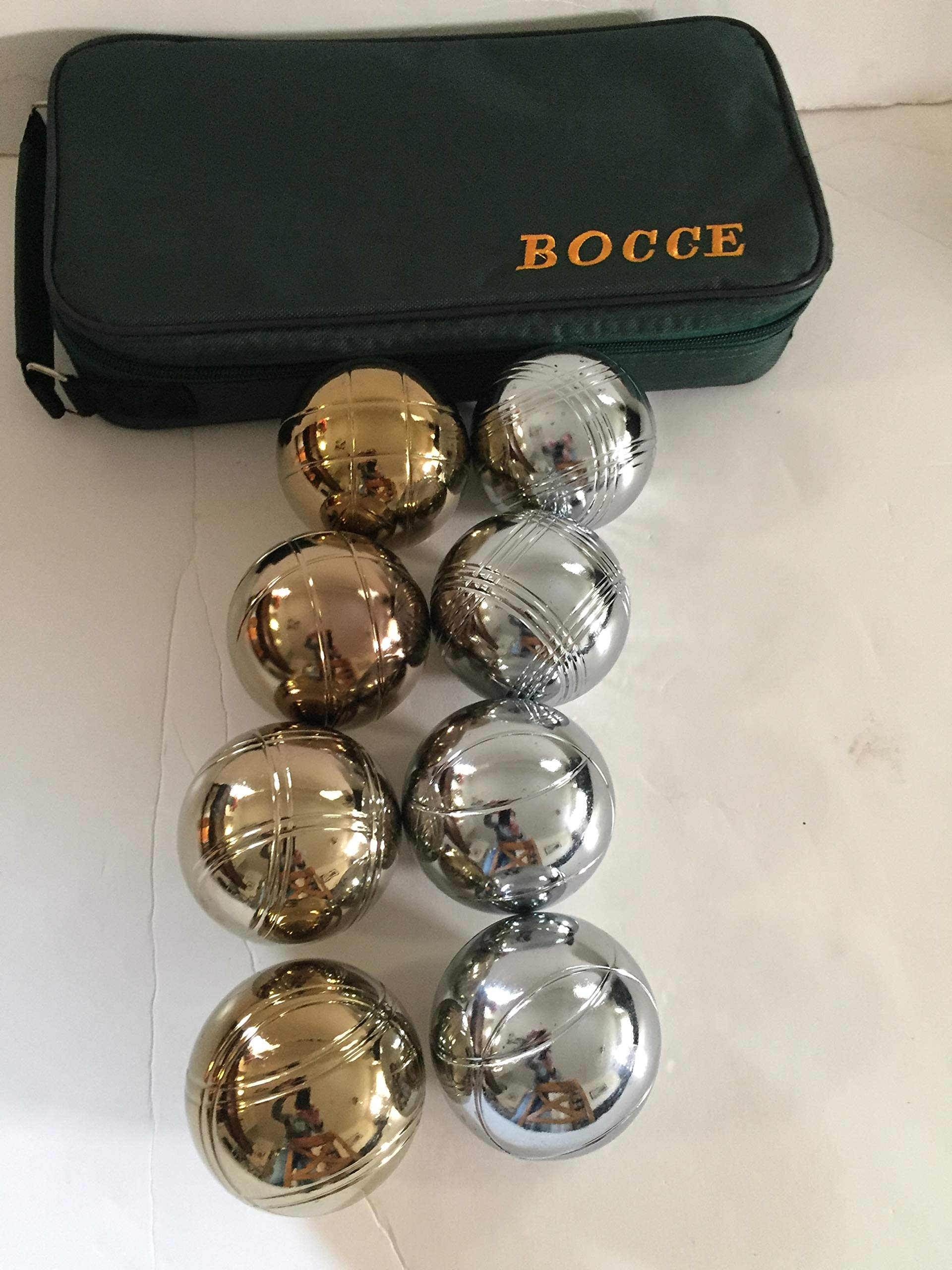 73mm Metal Bocce/Petanque Set with 8 Gold and Silver balls and green bag - single by BuyBocceBalls