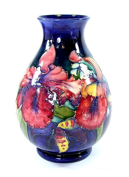 Vintage Moorcroft Vase Frilled Orchid Design Signed 1950s