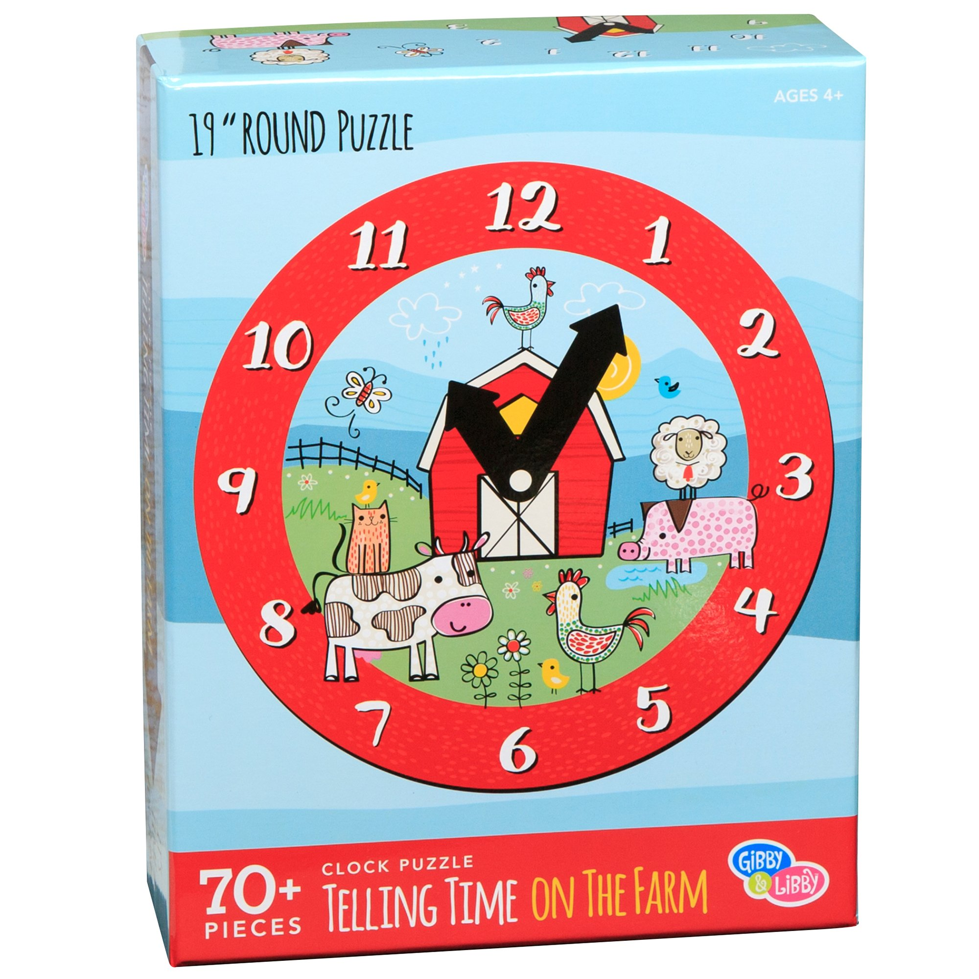 C.R. Gibson Farm Animals Clock Jigsaw Puzzle Kids, 70pc