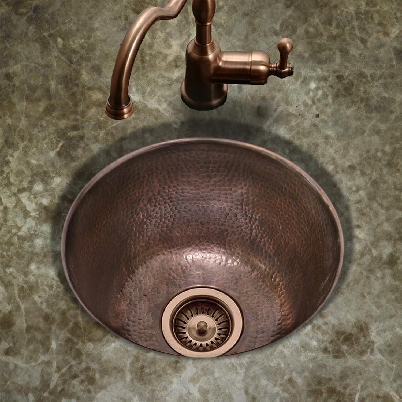 Houzer HW-SOHO15A Hammerwerks Series Copper Undermount Bar Sink