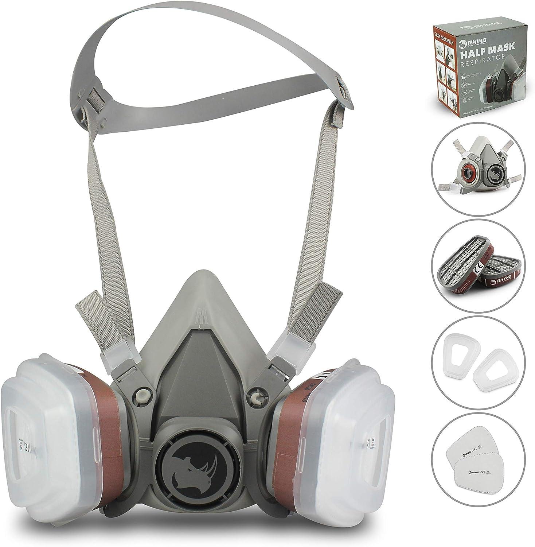 Facial Cubierta Antipolvo RSM con 2 filtros de algodón y 2 cartuchos contra Gas, Pintura, Polvo, Partículas, Vapor, Lijado, Bricolaje, Fumigación (Reutilizable)