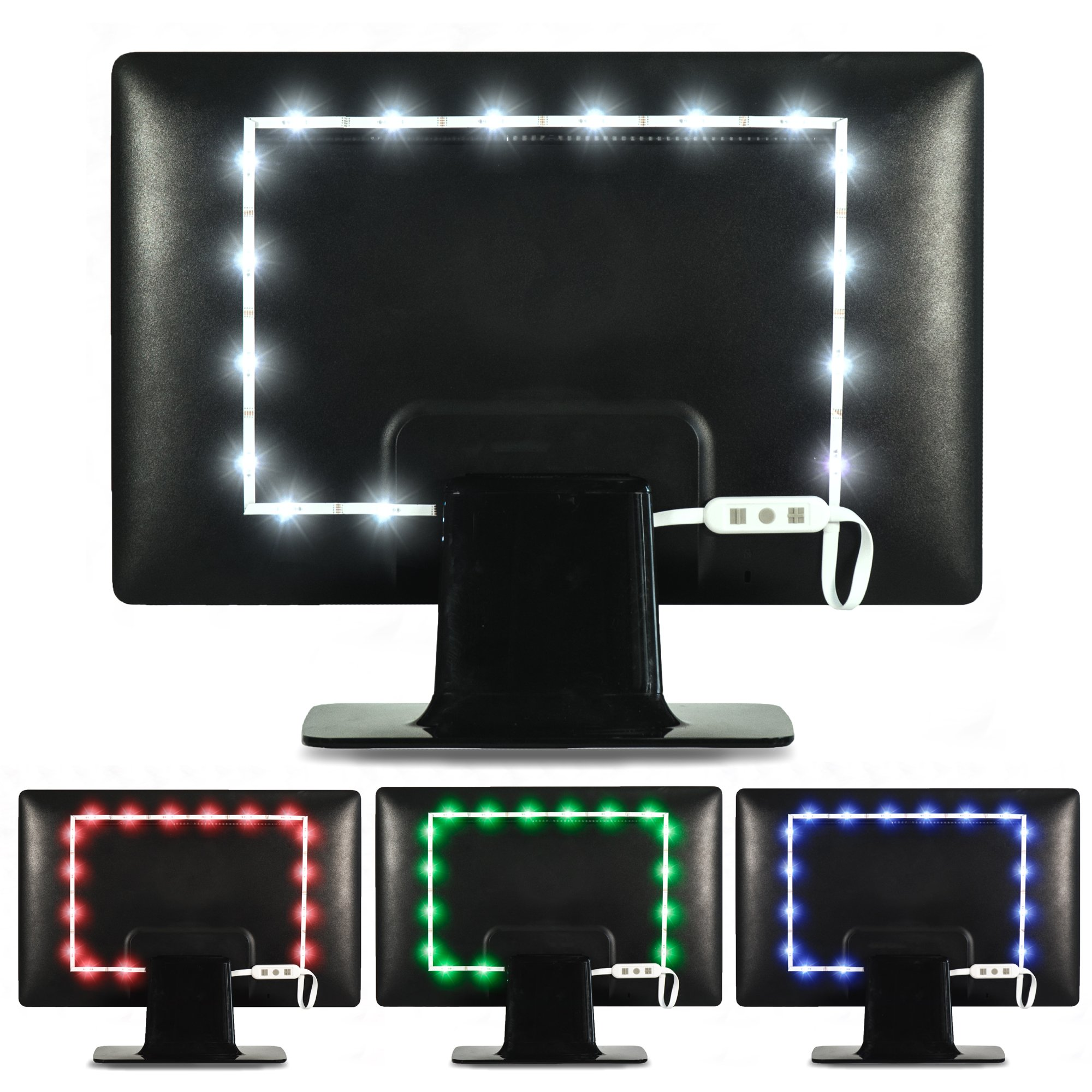 Luminoodle Color Computer Monitor Backlight - 15 Color Bias Lighting with Remote - 3.3 ft for Monitors up to 24'' - LED USB Powered TV Light, RGB Strip - Small