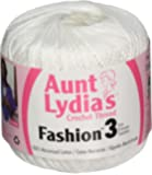 Coats Crochet Aunt Lydia's Fashion Crochet, Cotton Size 3, White