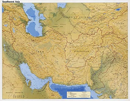 Amazon.com: Map Poster - Southwest Asia. 24 X 19: Posters ...