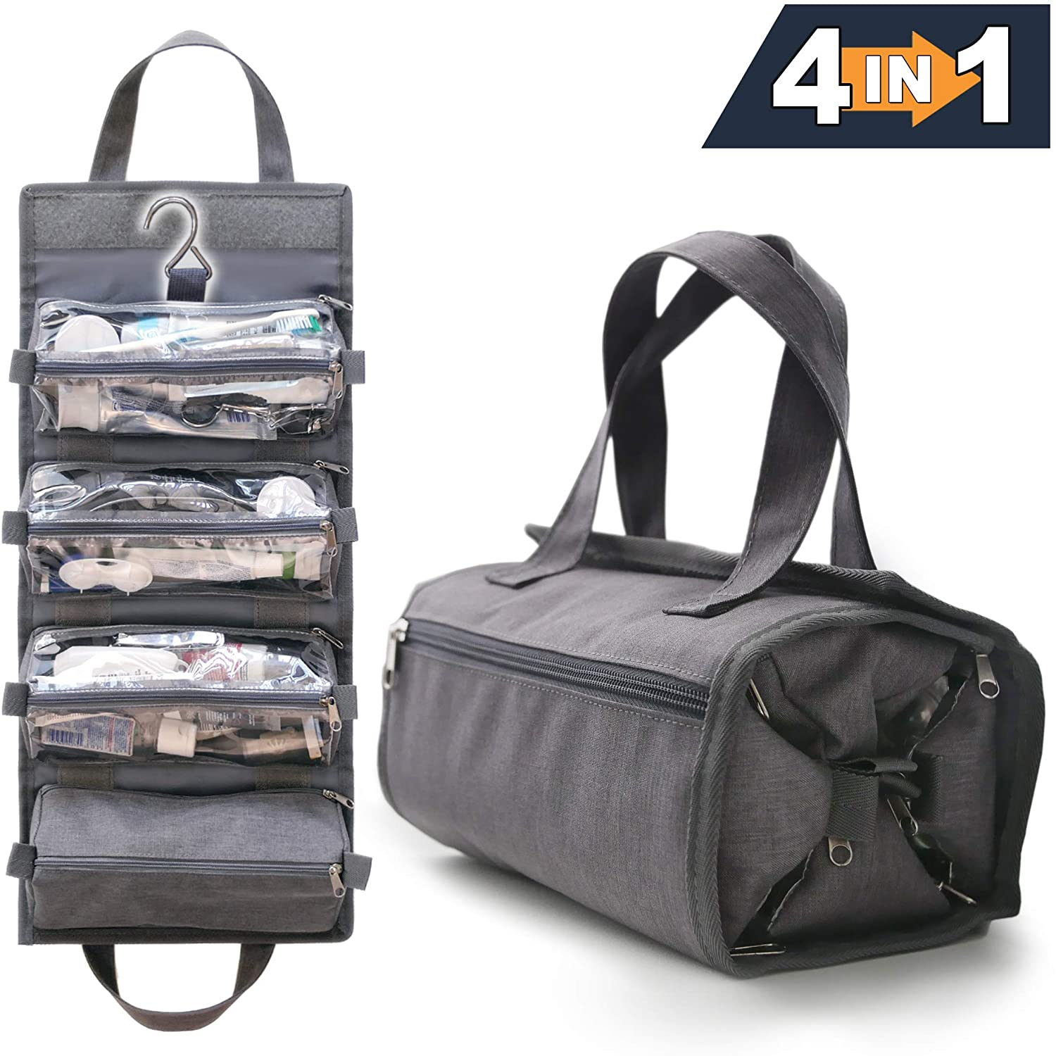 4-in-1 Hanging Toiletry Bag Travel Toiletries Bag for Women & Men - Roll Up Compact Cosmetic Kit with Hook   Waterproof, TSA Approved Removable Carry On Pouches (Heather Gray)