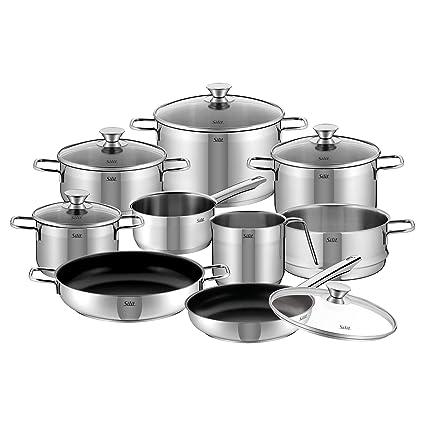 Silit Pisa Batería de Cocina (10 Piezas), Acero Inoxidable Pulido