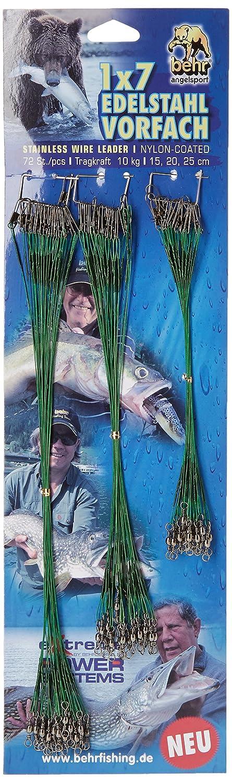72 Pi/èces 15cm//20 cm//25 cm 10 Kg Behrfishing- Bas de ligne en acier 1 x 7 Chefs fil inoxydable nylon