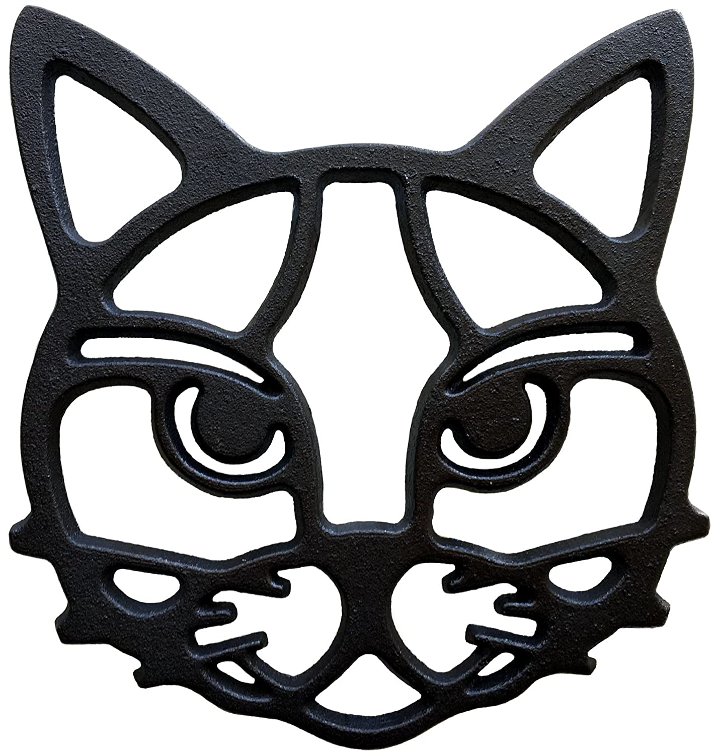 """Cat Trivet - Black Cast Iron for Hot Dishes & Pots on Kitchen & Dining Table 