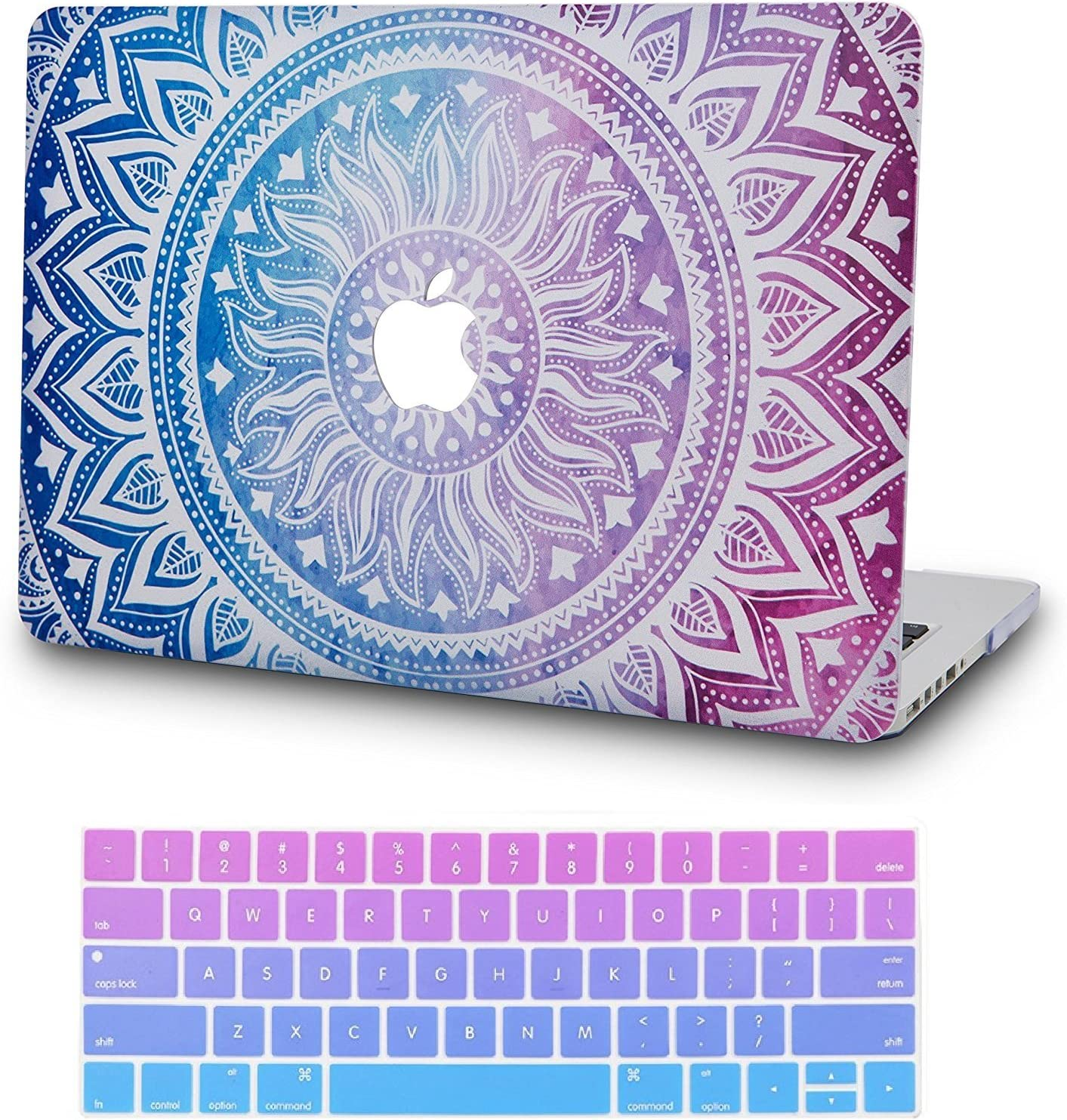 """KECC Laptop Case for MacBook Air 13"""" Retina (2020/2019/2018, Touch ID) w/Keyboard Cover Plastic Hard Shell Case A1932 2 in 1 Bundle (Purple Medallion)"""