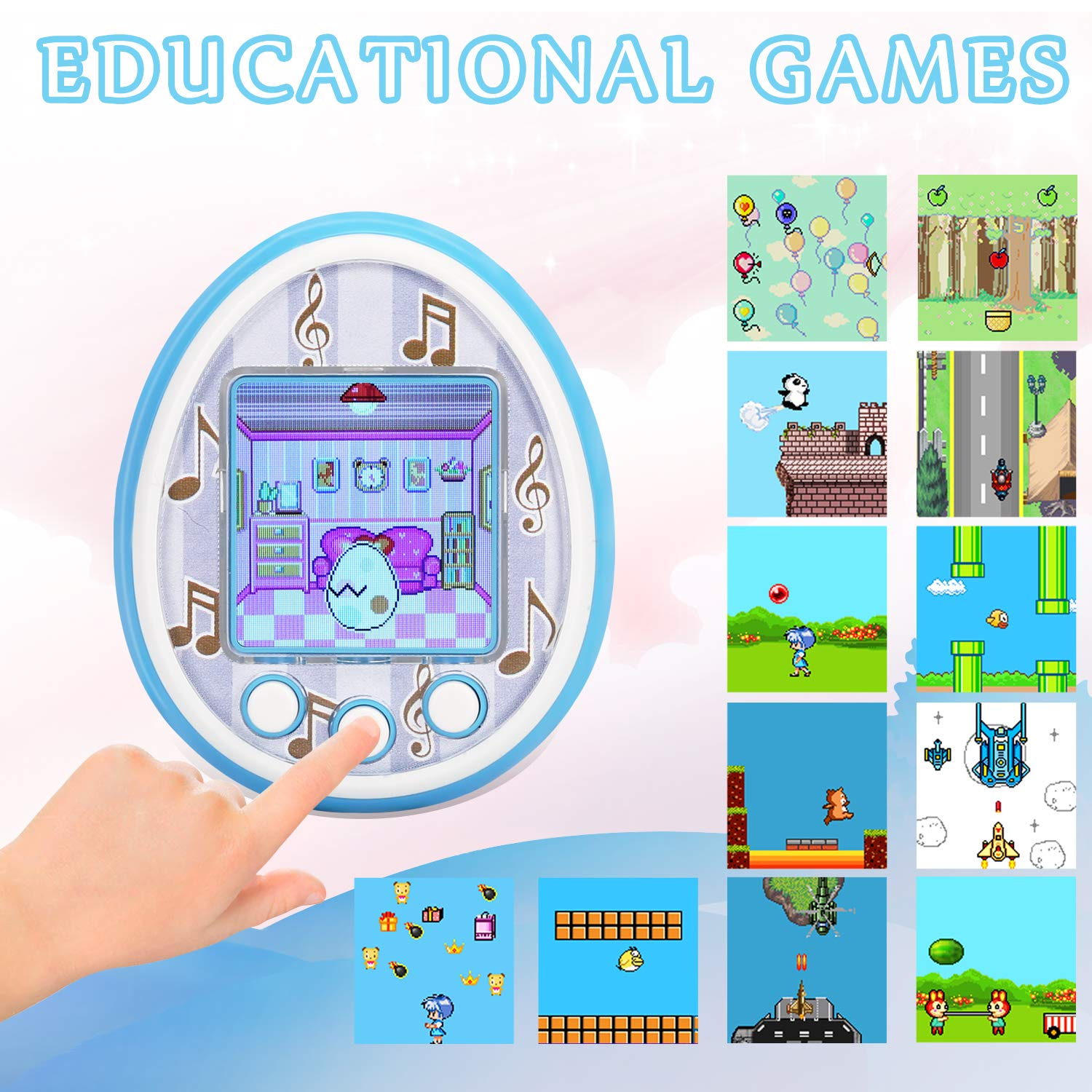 Fantasy Kids Virtual Pet Game Machine Electronic controler Toys-(2019 HD Color Screen,Wireless Interaction,USB Rechargeable,Over 30 Kinds of Gameplay,Toy Gifts for Boys Girls Toddlers(Blue) by Fantasy (Image #4)