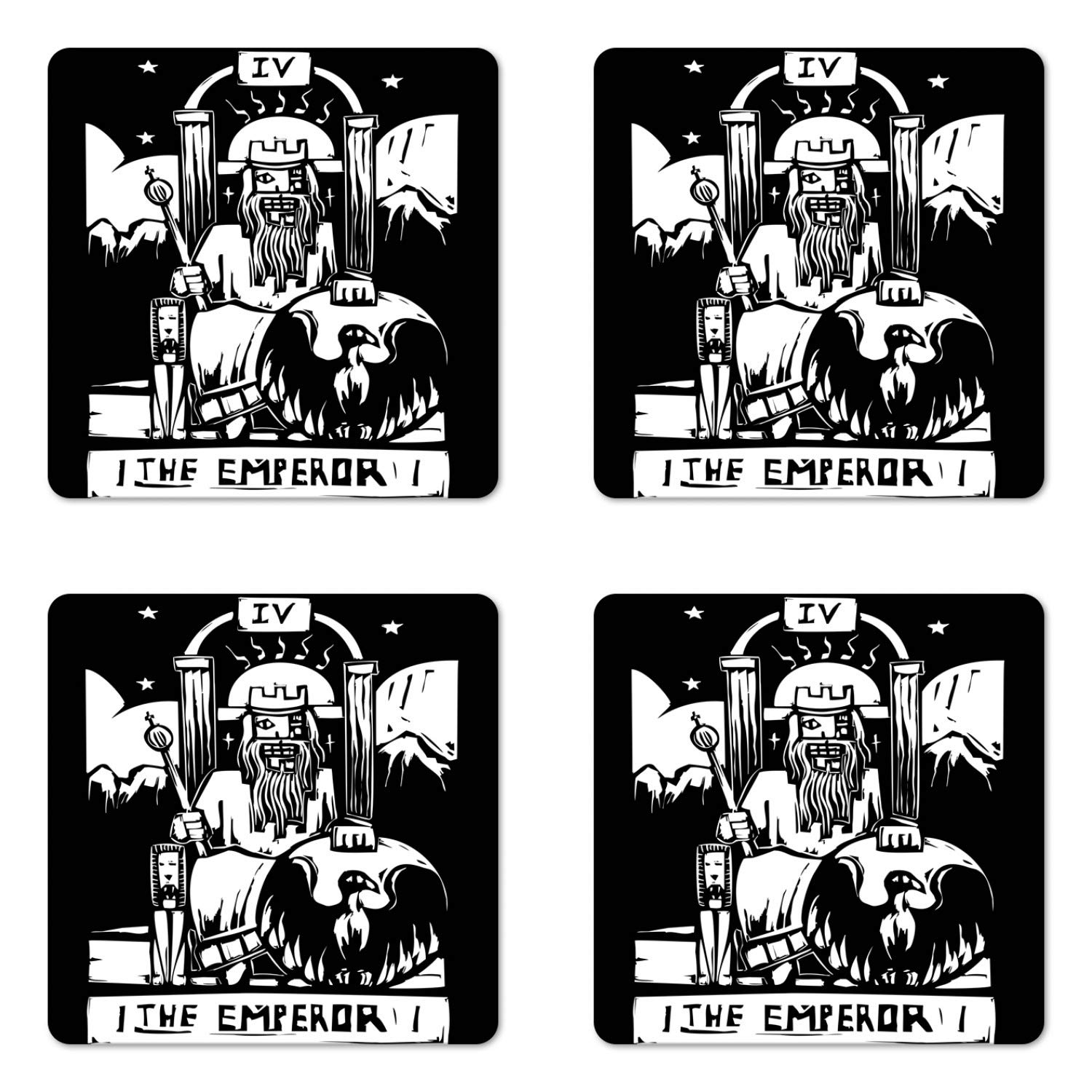 Ambesonne Tarot Coaster Set of Four, Tarot Card for The Emperor Woodcut Style Illustration Monochromatic Artwork, Square Hardboard Gloss Coasters for Drinks, Black and White