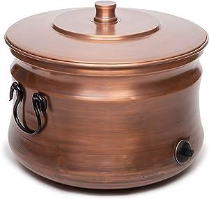 BIRDROCK HOME Copper Water Hose Holder - Ground Garden Hose Pot - Decorative - Handle - Embossed - Steel Metal - Outdoor or Indoor Use (Copper)