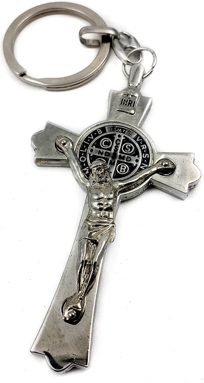 Nazareth Store Llavero de la Cruz de la Medalla de San Pedro Benedicto Llavero católico Jerusalén Encanto 3