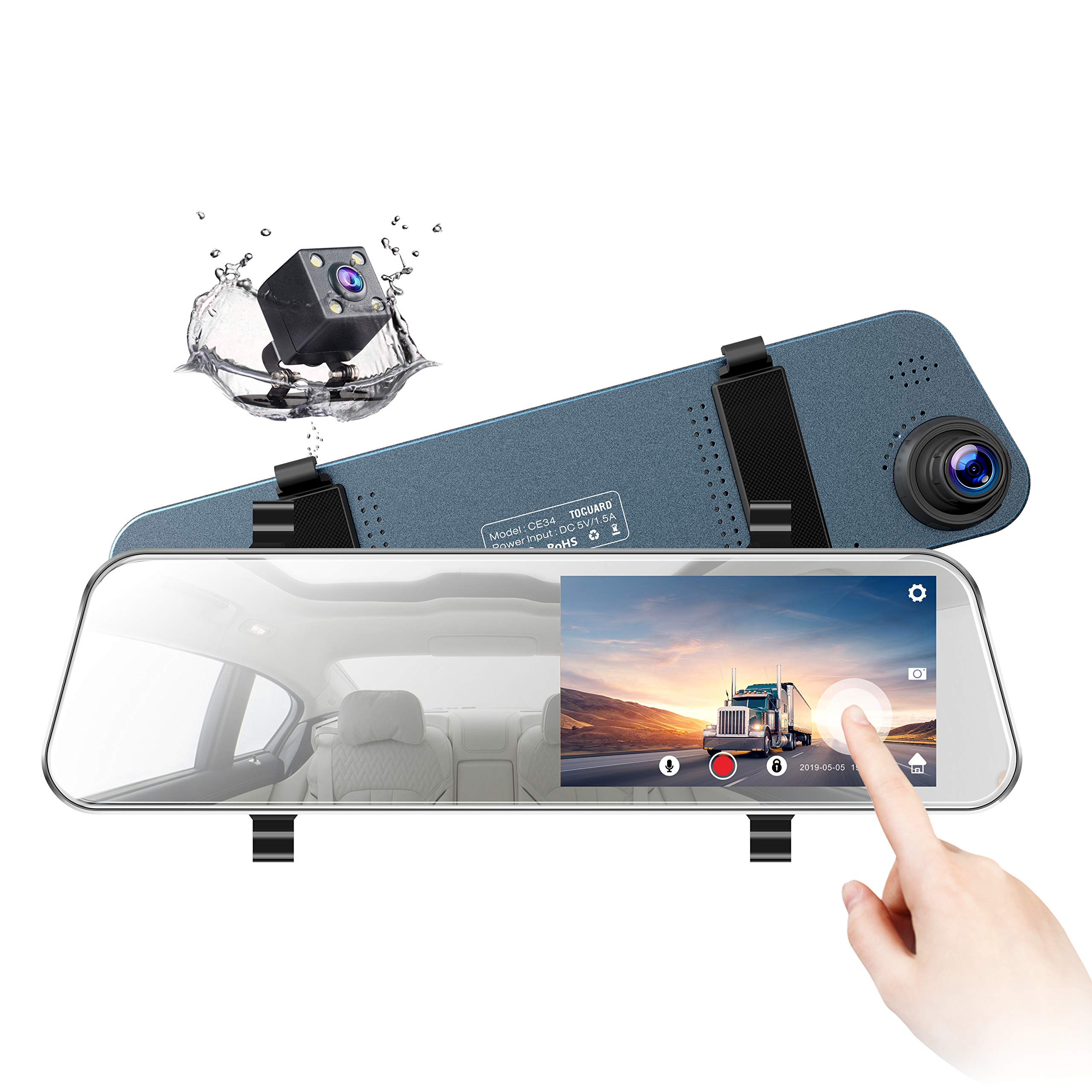 TOGUARD Backup Camera 5'' LCD Mirror Dash Cam Rear View Mirror Camera Ultra-Thin Touch Screen Full HD 1080P Dash Cam Front and Rear Dual Lens with Waterproof Rear Camera