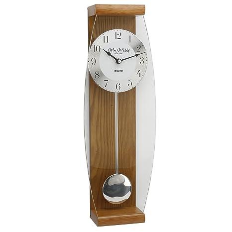 Reloj de pared a Péndulo en Lujoso Roble - Frente de cristal