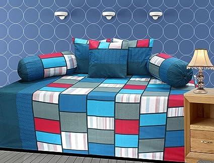 ZAINHOME Cotton Platinum Series Diwan (Blue Checkered) - Set of 6 Pieces
