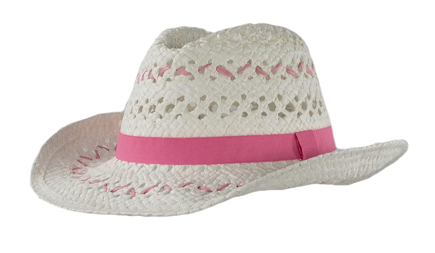 2247a2841e0cee Light & White Handwoven Kids Straw White Cowboy Hat, Girls Costume Pink  Party Hat Pink Cowgirl nyngfg2117-Hats