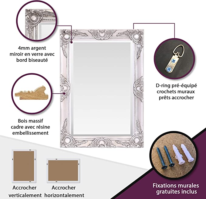 Vintage chic 50 cm x 70 cm Select Mirrors Certains miroirs Haywood Miroir Mural Or Antique Style Baroque Rococo