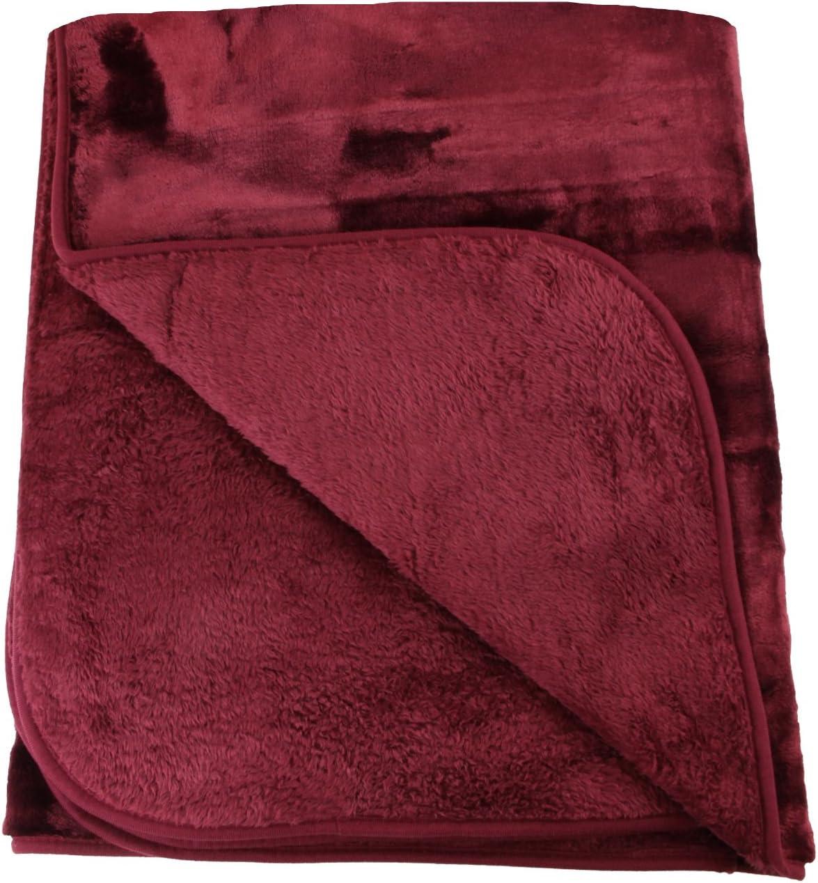 Amago Manta de sofá, Sensación de Cachemira, Rojo Burdeos, 130 x 170 cm, 40024-33-1317