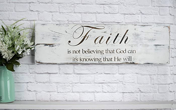 Hand Painted Wood Sign Bible Verse Wall Art Wood Home Wall Decor Wood Sign Sayings Faith Sign White Distressed