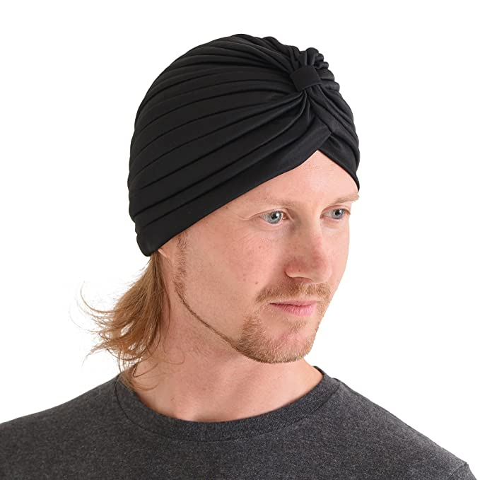 CHARM Casualbox | Twist Pleated Head Wrap Turban Bonnet Fortune Teller Hat Retro Vintage Black