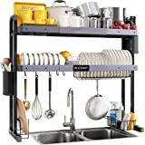"""Over The Sink Dish Drying Rack, Boosiny 2 Tier Stainless Steel Large Adjustable Kitchen Dish Drainer(27.5""""-33.5""""), Space Save"""