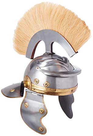Brass Nautical Armor - Casco Romano con Plumas Blancas: Amazon.es ...