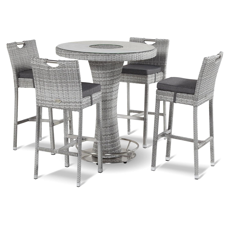 Hartman Montego 5tlg. Bar-Set Polyrattan/Glas royal grey flat ø 95 cm