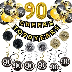Trgowaul 90th Birthday Party Decorations Kit- Gold Glittery Cheers to 90 Years Banner, Poms, 6Pcs Sparkling 90 Hanging Swirl, 1 Gold Number Balloon and 15 Confetti Balloons(Black, Golden) for 90th Birthday Decorations 90 Years Old Party Supplies