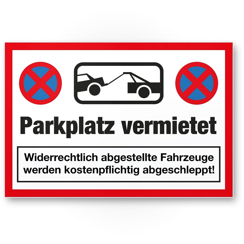 rot, 30 x 20cm Hinweisschild Privatparkplatz reserviert Parkverbot SchildParken Verboten freihalten Parkplatz vermietet Kunststoff Schild Parkplatzschild vermietet Falschparker