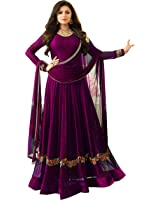 Bipolar Life Women's Special Party Wear Purple Color Faux Georgette Embroidery and Diamond Work Party Wear Semi Stitched Anarkali Salwar Suit (Free_Size_Semi_Stitched_Purple_Color)