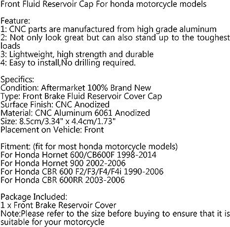 Artudatch Couvercle de r/éservoir de frein avant en aluminium pour moto Hon-da Hornet 600//CB600F CRF450