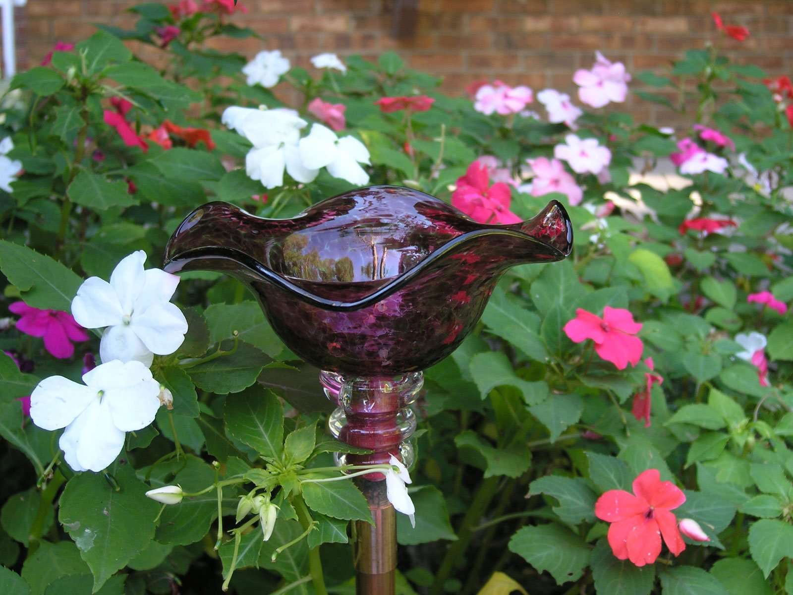 Magenta Hand Blown Glass Butterfly Feeder with 36'' Copper Stake by Andrew Holmberg