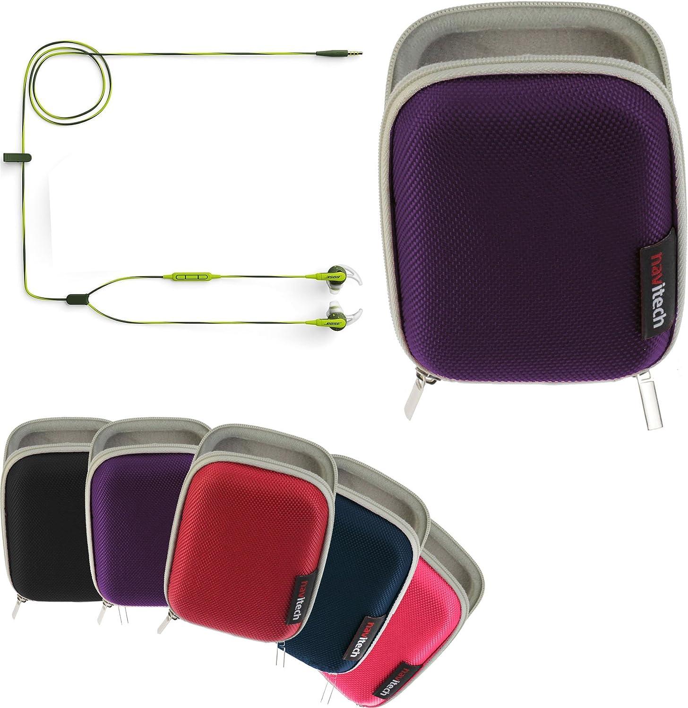 Navitech Purple Hard Protective Earphone/Headphone Case Compatible with The Bose SoundSport in-Ear Headphones – Apple Devices
