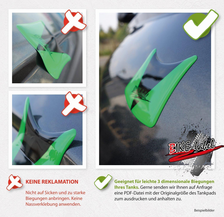 Protection de r/éservoir 3D VA-501880 Protection de r/éservoir universelle compatible avec les r/éservoirs de moto Jaune fluo radioactif