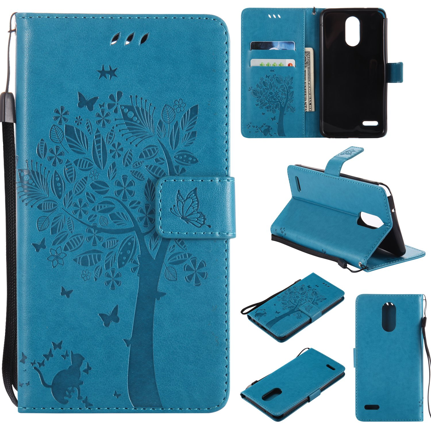 LG Stylo 3 Case,Stylus 3 Plus Wallet Case,Premium Vintage Emboss Floral PU Leather Built-in Card/Cash Slots,Stand Magnetic Wristlet Strap Case by Zvkvamt (Tree-Blue)