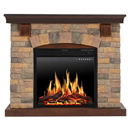 Brilliant Jamfly Electric Fireplace Wall Mantel In Faux Stone Birch Wood Heater With Multicolor Flames Tv Stand Standing Fireplace With Remote Control Beutiful Home Inspiration Truamahrainfo