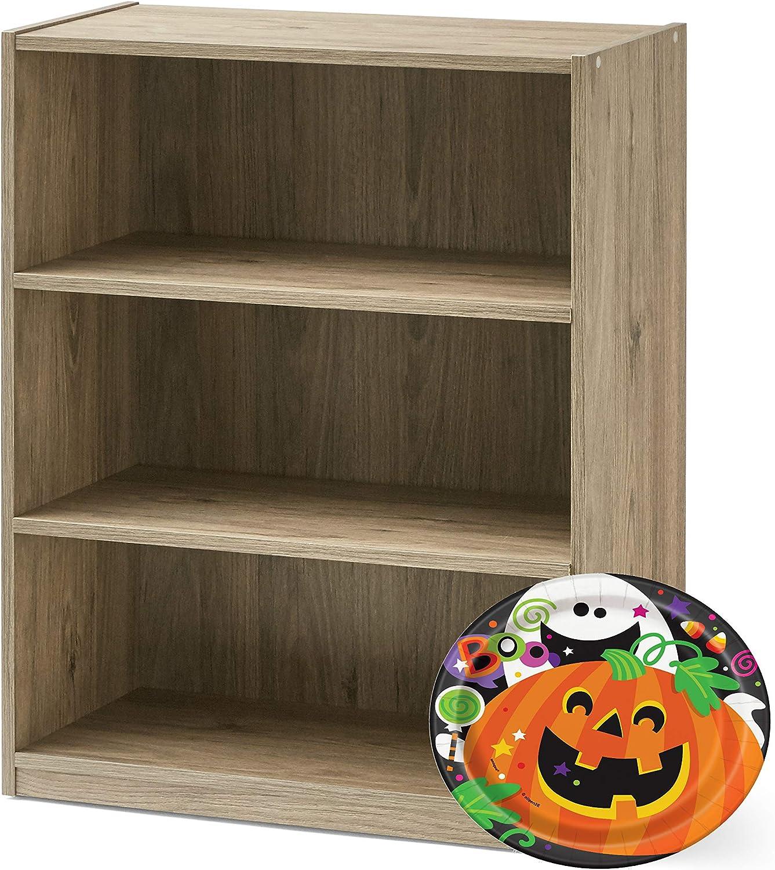 Mainstay. 3-Shelf Bookcase - Wide Bookshelf Storage Wood Furniture, 1 Fixed Shelf 2 Adjustable Shelves Bookcase White (Bundle) (White) (White): Sports & Outdoors