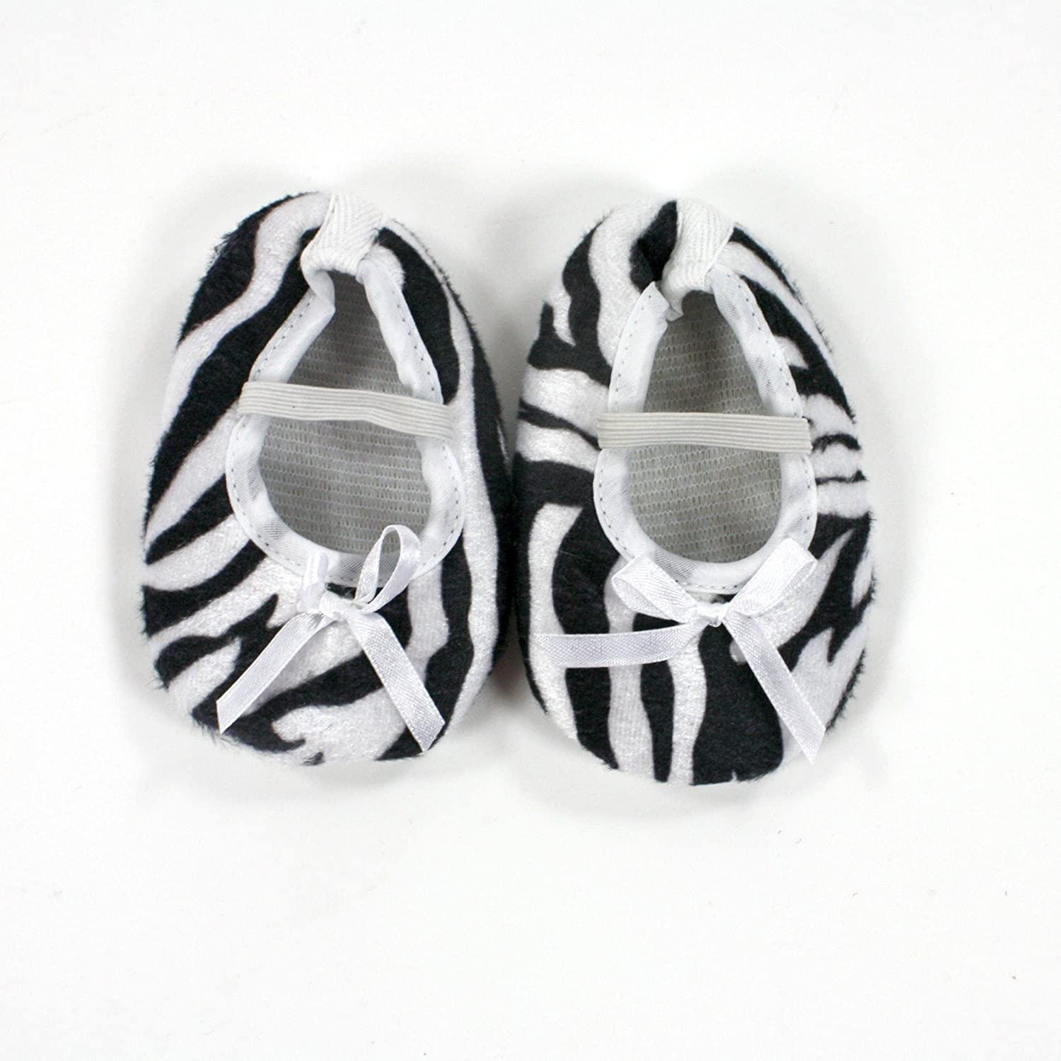 Baby Shoes Animal Print with Ribbon Bows 0-12 Months 0-3 Mths, Zebra with White Bow