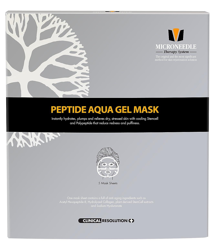MTS Peptide Aqua Gel Mask 5 pcs / box, Hydrating, Soothing, Cooling, Healing, Post-Treatment, Post-rolling, Reduce Redness and Stinging Feeling Inc.