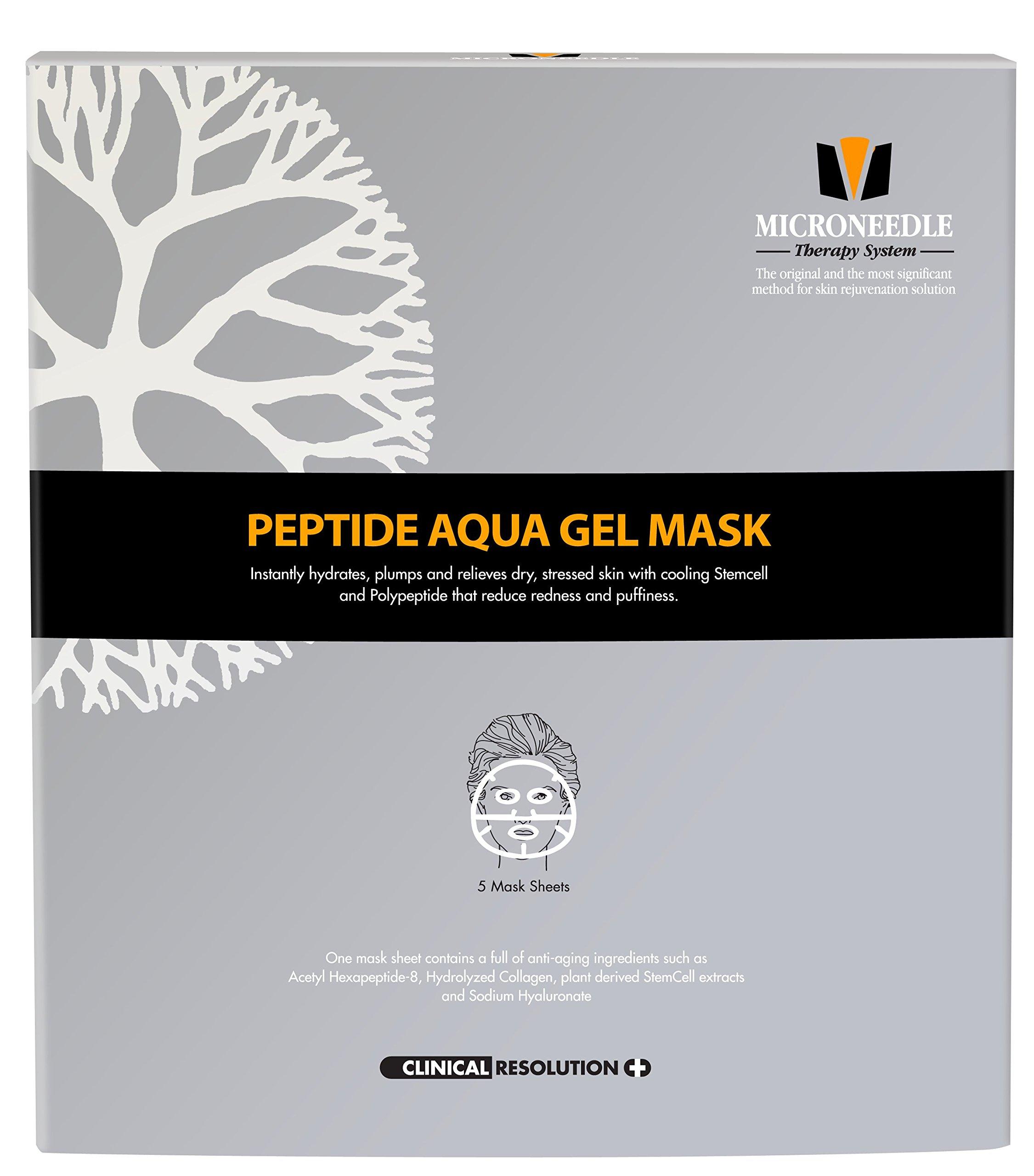 MTS Peptide Aqua Gel Mask 5 Pcs / Box, Hydrating, Soothing, Cooling, Healing, Post-treatment, Post-rolling, Reduce Redness and Stinging Feeling